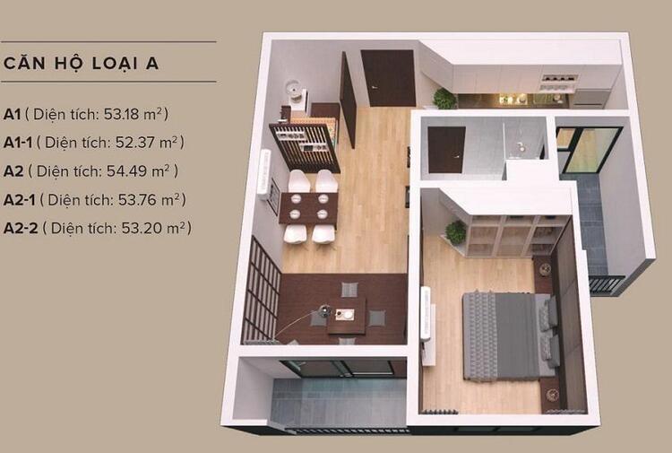 11-1 mặt bằng căn 1 phòng ngủ the zen gamuda