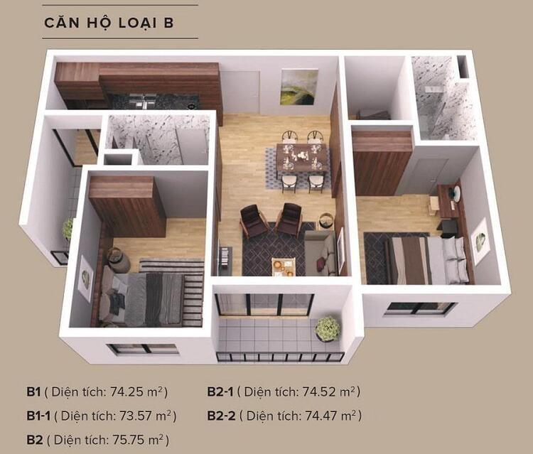 11-2 the zen residence thiết kế căn 2 phòng ngủ