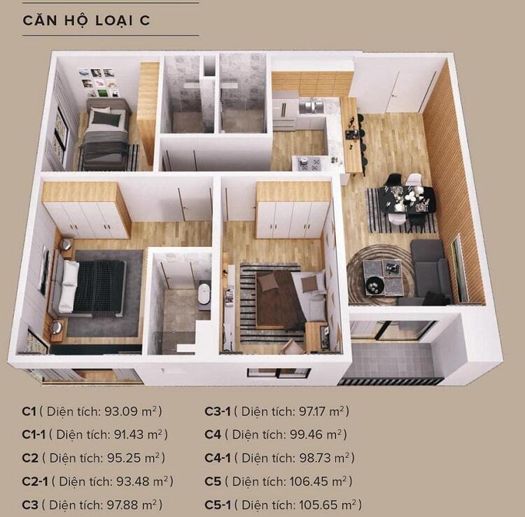 11-3 mặt bằng căn 3 phòng ngủ chung cư the zen
