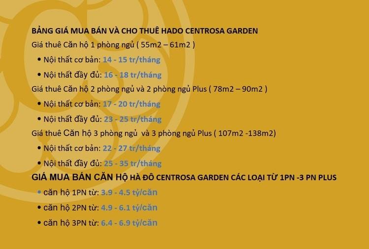 Bảng giá cho thuê mua bán Hado Centrosa