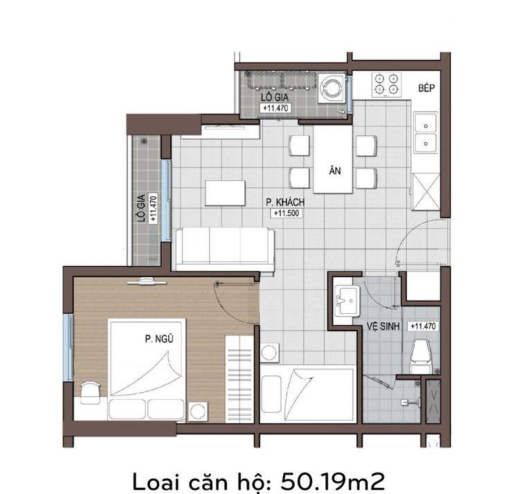 Căn hộ conic riverside 50 m2