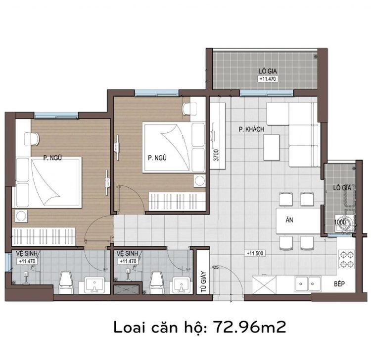 Căn hộ conic riverside 72 m2