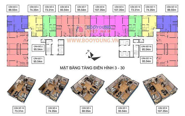 Mặt bằng chung cư quốc tế Booyoung Vina
