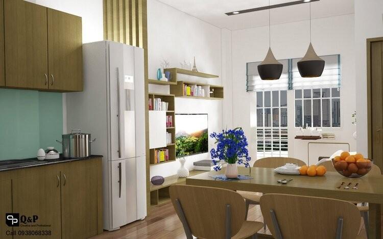Phòng khách - bếp - phòng ăn căn hộ Ehome 2