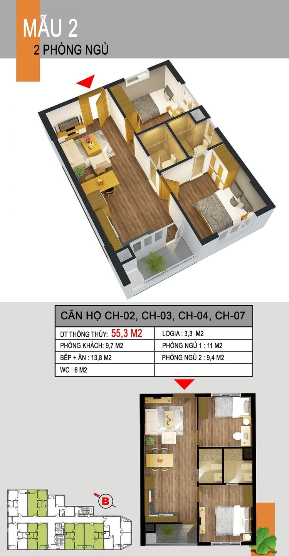 Mặt bằng căn hộ 536A Minh Khai