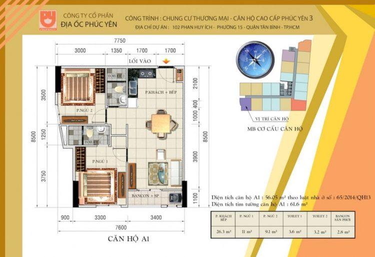 Mặt bằng điển hình căn hộ Phúc Yên 3