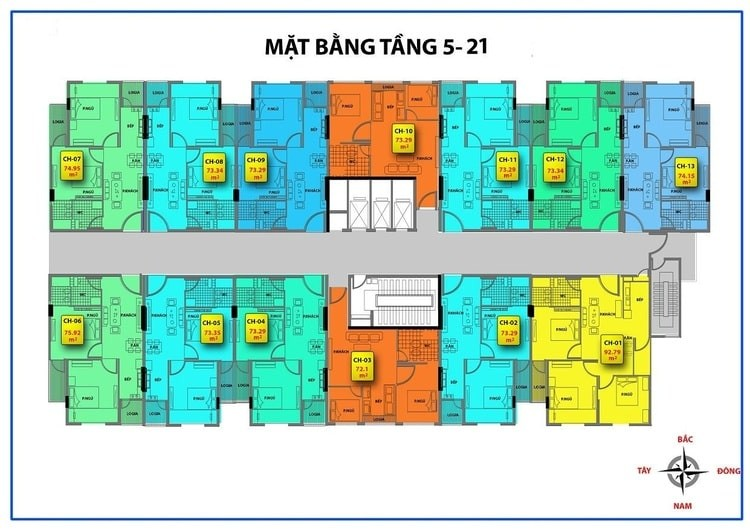 Mặt bằng tầng căn hộ 536A Minh Khai