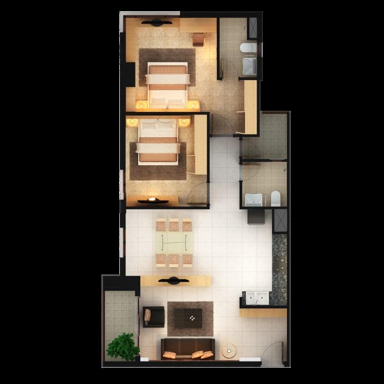 Thiết kế căn hộ 84m2 chung cư An Phú quận 6